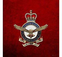 Royal Australian Air Force - RAAF Badge over Red Velvet Photographic Print