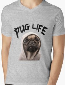 Pug Life Mens V-Neck T-Shirt
