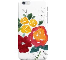 Watercolor flowers with yellow rose. iPhone Case/Skin