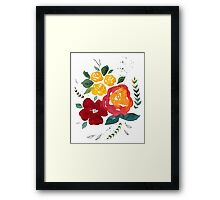 Watercolor flowers with yellow rose. Framed Print