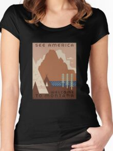 'Montana' Vintage Travel Poster Women's Fitted Scoop T-Shirt