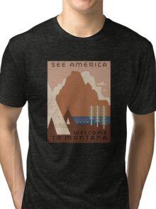 'Montana' Vintage Travel Poster Tri-blend T-Shirt