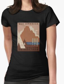 'Montana' Vintage Travel Poster Womens Fitted T-Shirt