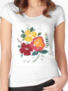 Watercolor flowers with yellow rose. Women's Fitted Scoop T-Shirt