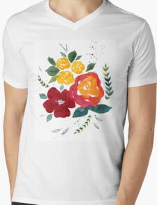Watercolor flowers with yellow rose. Mens V-Neck T-Shirt