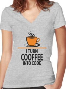 I Turn Coffee Into Code Women's Fitted V-Neck T-Shirt