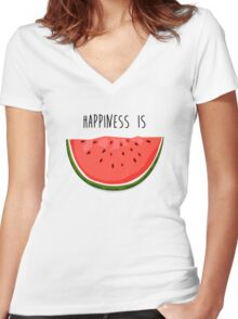 Happiness is Watermelon Women's Fitted V-Neck T-Shirt