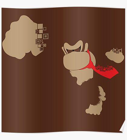 Donkey Kong Pixel Silhouette Poster