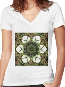 Kaleidoscope of puffball fungus Women's Fitted V-Neck T-Shirt