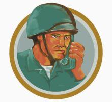 American Soldier Serviceman Calling Radio Watercolor by patrimonio