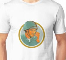 American Soldier Serviceman Calling Radio Watercolor Unisex T-Shirt