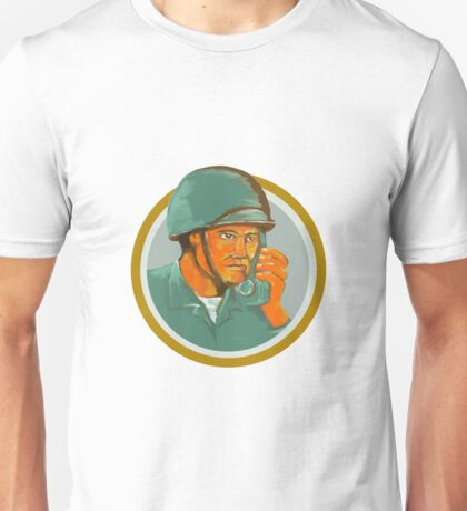 American Soldier Serviceman Calling Radio Watercolor Unisex T-Shirt