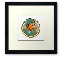American Soldier Serviceman Calling Radio Watercolor Framed Print