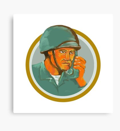 American Soldier Serviceman Calling Radio Watercolor Canvas Print