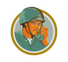 American Soldier Serviceman Calling Radio Watercolor Photographic Print