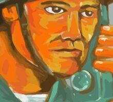 American Soldier Serviceman Calling Radio Watercolor Sticker