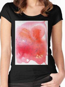 Abstract watercolor spot with red, blue and orange colors. Women's Fitted Scoop T-Shirt