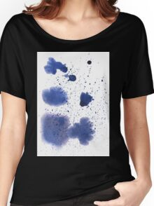Abstract watercolor spot with blue color. Women's Relaxed Fit T-Shirt