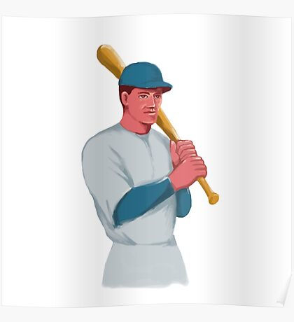Vintage Baseball Player Bat Watercolor Poster