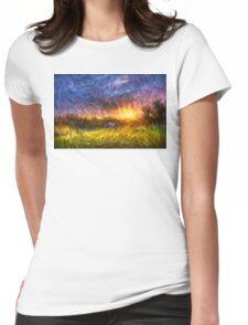 Modern Landscape Van Gogh Style Womens Fitted T-Shirt