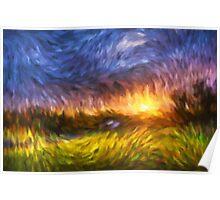 Modern Landscape Van Gogh Style Poster