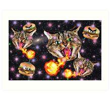 Cats Fighting Alien Burgers Art Print