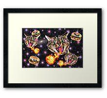 Cats Fighting Alien Burgers Framed Print
