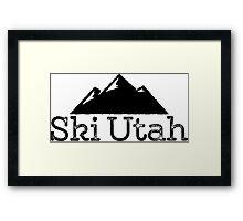 Ski Utah Vintage Mountain Design Framed Print
