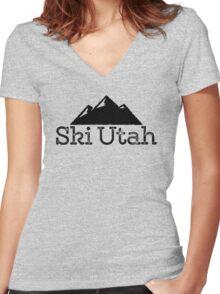 Ski Utah Vintage Mountain Design Women's Fitted V-Neck T-Shirt