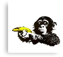 Monkey To Banana guns Canvas Print