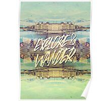 Explore & Wander Seine River Louvre Paris France Poster