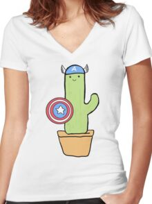 Cactus America Women's Fitted V-Neck T-Shirt
