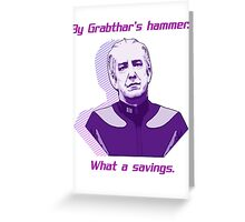 """What a savings."" Greeting Card"