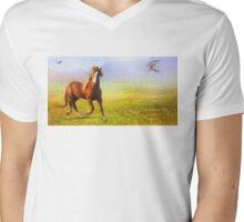Horse On The Prairie Mens V-Neck T-Shirt