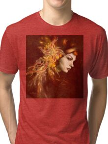 Red Headed Woman Abstract Realism Tri-blend T-Shirt