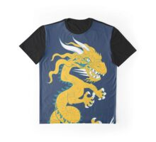 Golden Dragon with Turquoise Style Graphic T-Shirt