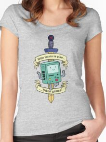 Beemo - Wanna Play Video Games? Women's Fitted Scoop T-Shirt