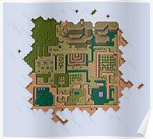 Hyrule Map Dark Legend of Zelda ALttP Poster
