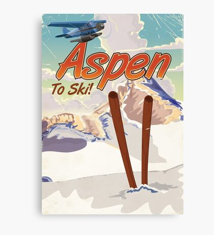 Aspen USA Vintage ski travel poster. Canvas Print