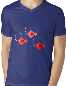 Red and blue fish Mens V-Neck T-Shirt