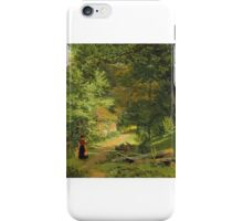 William Frederick Witherington - Mother and child accompanied by a dog on a woodland path  iPhone Case/Skin