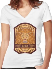 Lion Blazon Women's Fitted V-Neck T-Shirt