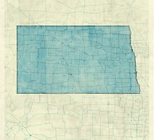 North Dakota State Map Blue Vintage by HubertRoguski