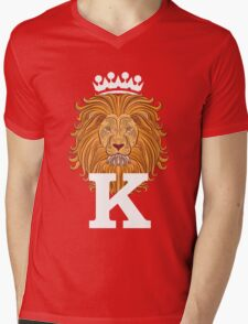 Lion Head Mens V-Neck T-Shirt
