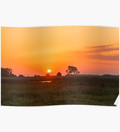Sunset over the meadow Poster