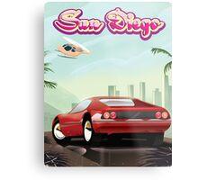 San Diego red sport car 1988 travel poster Metal Print