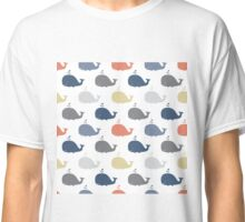 Sea pattern with funny whales. Summer marina background Classic T-Shirt