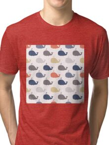 Sea pattern with funny whales. Summer marina background Tri-blend T-Shirt