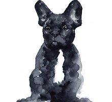 Black french bulldog watercolor poster by Joanna Szmerdt