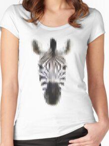 Pixelated Zebra Women's Fitted Scoop T-Shirt
